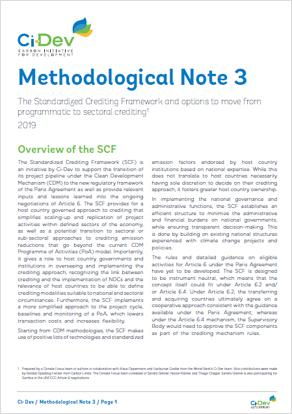 SCF and Options to Move from Programmatic to Sectoral Crediting: Methodological Note